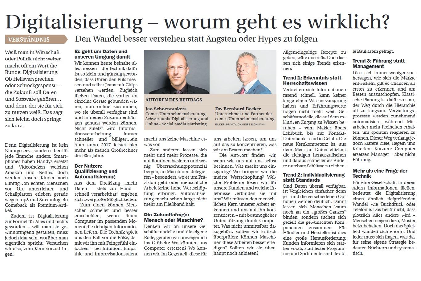 Artikel zum Thema Digitalisierung aus der Nordwest-Zeitung November 2017